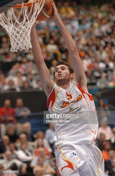 Spain's Rudy Fernandez all alone for the easy two during the FIBA World Championship 2006 Semi Final at the Saitama Super Arena Tokyo Japan Friday...