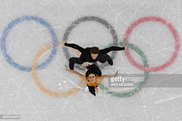 TOPSHOT Spain's Sara Hurtado and Spain's Kirill Khaliavin compete in the ice dance short dance of the figure skating event during the Pyeongchang...