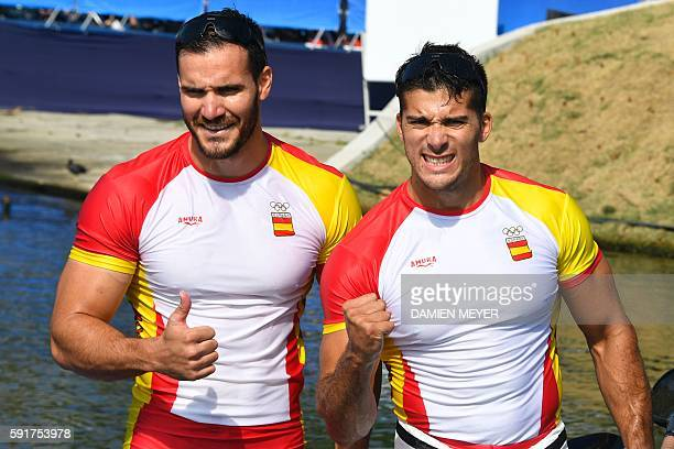 Spain's Saul Craviotto and Spain's Cristian Toro celebrate after the Men's Kayak Double 200m final at the Lagoa Stadium during the Rio 2016 Olympic...