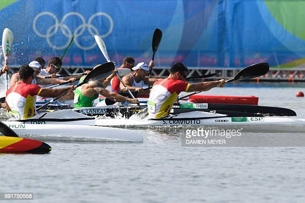 Spain's Saul Craviotto and Spain's Cristian Toro compete in the Men's Kayak Double 200m final at the Lagoa Stadium during the Rio 2016 Olympic Games...