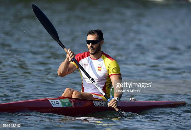 Spain's Saul Craviotto competes in the Men's Kayak Single 200m event at the Lagoa Stadium during the Rio 2016 Olympic Games in Rio de Janeiro on...