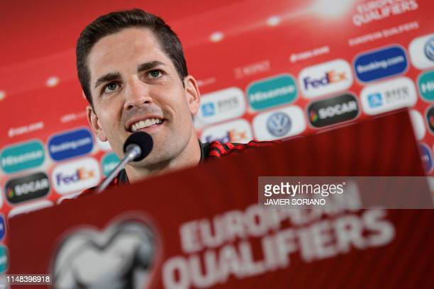 Spain's second coach Robert Moreno attends a press conference at Trosvollur stadium in Torshavn Faroe Islands on June 6 2019 on the eve of the UEFA...