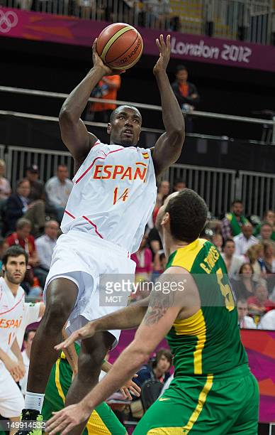 Spain's Serge Ibaka shoots over Brazil's Caio Torres during their game at the Olympic Park Basketball Arena during the 2012 Summer Olympic Games in...