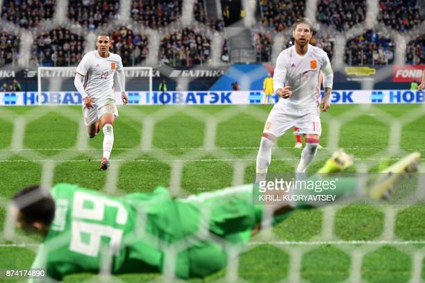 Spain's Sergio Ramos celebrates after scoring a goal from the penalty spot during an international friendly football match between Russia and Spain...