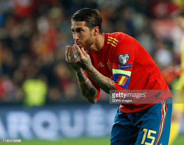 Spain's Sergio Ramos seen in action during the Qualifiers Group B to Euro 2020 football match between Spain and Norway in Valencia Spain Spain beat...