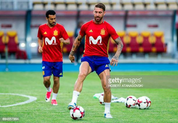 Spain's Sergio Ramos takes part in a training session in Skopje on June 10 on the eve of the FIFA World Cup 2018 qualification football match between...