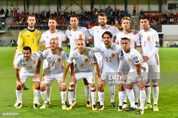 Spain's squad goalkeeper David de Gea Sergio Ramos Sergio Busquets Gerard Pique Nacho Montreal Alvaro Morata Pedro Rodriguez David Silva Andres...
