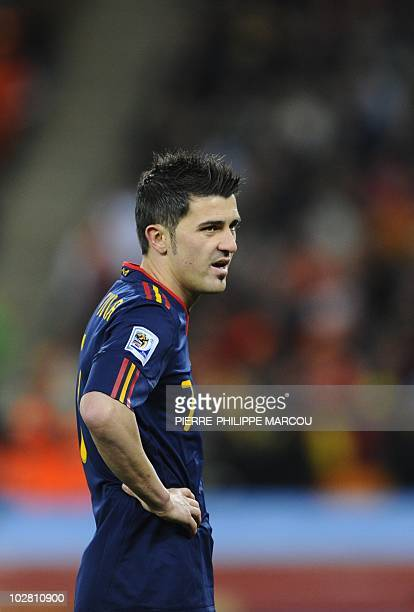 Spain's striker David Villa reacts during the 2010 FIFA football World Cup final between the Netherlands and Spain on July 11 2010 at Soccer City...