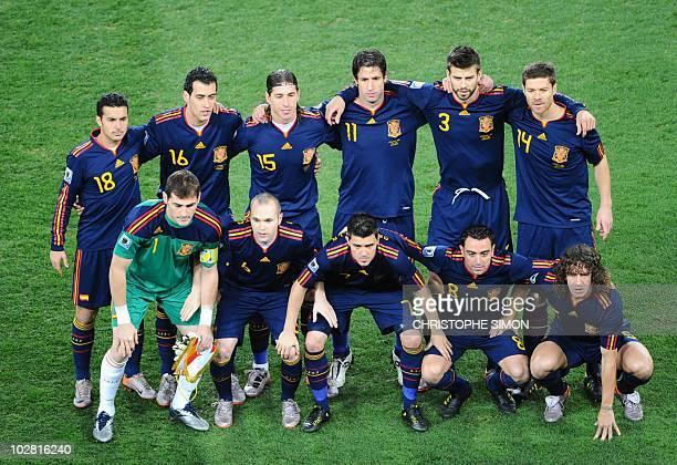 Spain's striker Pedro Spain's midfielder Sergio Busquets Spain's defender Sergio Ramos Spain's defender Joan Capdevila Spain's defender Gerard Pique...