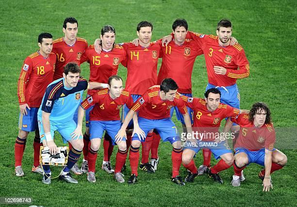 Spain's striker Pedro Spain's striker Juan Manuel Mata Spain's defender Sergio Ramos Spain's midfielder Xabi Alonso Spain's defender Joan Capdevila...