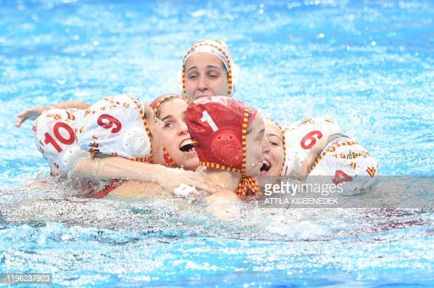 Spain's team celebrates after the women's water polo final match between Spain vs Russia at the European Water Polo Championships on January 25 2020...