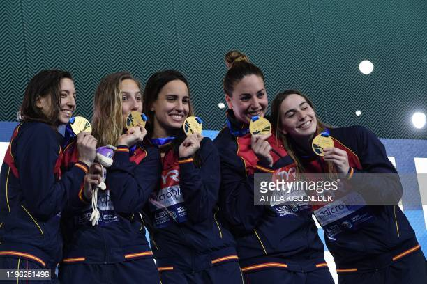 Spain's team celebrates their victory after the women's water polo final match between Spain vs Russia at the European Water Polo Championships on...