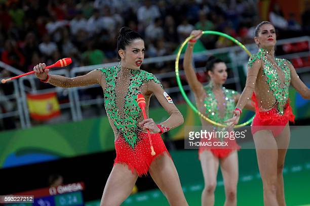 Spain's team compete in the group allaround final event of the Rhythmic Gymnastics at the Olympic Arena during the Rio 2016 Olympic Games in Rio de...