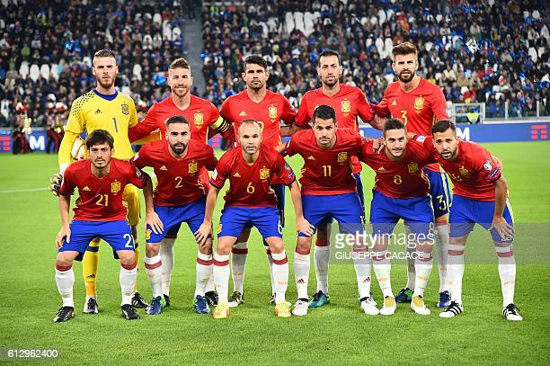 Spain's team players Spain's goalkeeper David de Gea Spain's defender Sergio Ramos Spain's forward Diego Costa Spain's midfielder Sergio Busquets...