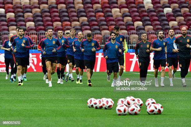 Spain's team players take part in a training session of the Spain's national football team at the Luzhniki Stadium in Moscow, on June 30 on the eve...