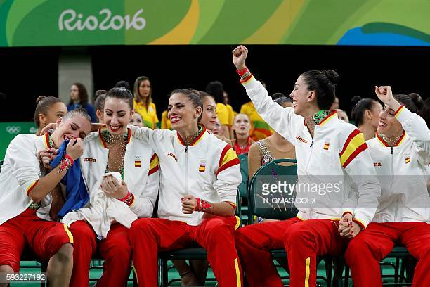 Spain's team react after taking second place in the group allaround final event of the Rhythmic Gymnastics at the Olympic Arena during the Rio 2016...