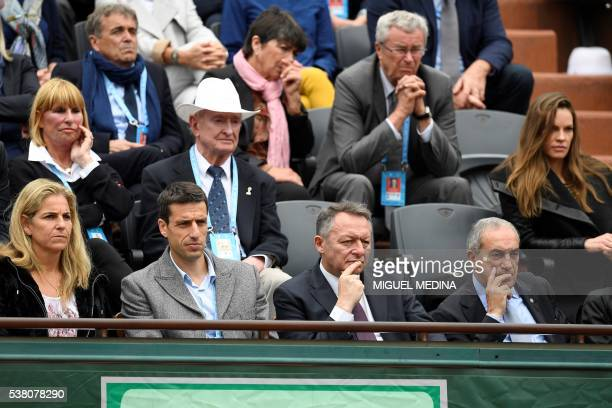Spain's tennis player Arantxa Sanchez Vicario French slalom canoeist Tony Estanguet and France's junior minister for sports Thierry Braillard and...