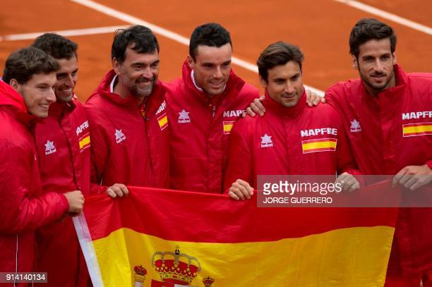 Spain's tennis team Pablo Carreno Busta Albert RamosVinolas Spain's Davis Cup team captain Sergi Bruguera Roberto Bautista Agut David Ferrer and...