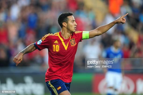 Spain's Thiago Alcantara celebrates scoring his side's second goal of the game