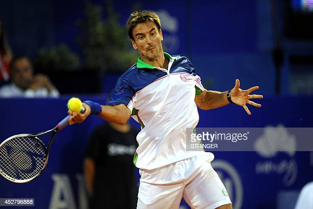 Spain's Tommy Robredo returns the ball to Uruguay's Pablo Cuevas during the final match of the ATP Croatia Open tennis tournament on July 27 2014 in...