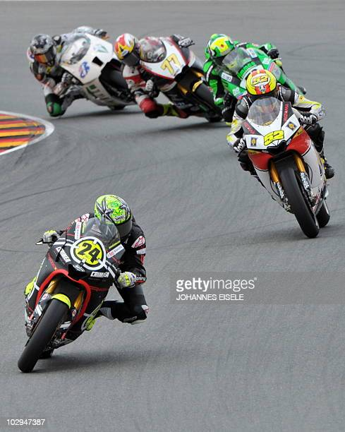 Spain's Toni Elias of the Gresini Racing Moto2 team leads a pack during the qualifying practice of the Moto2 race at the Sachsenring Circuit on July...
