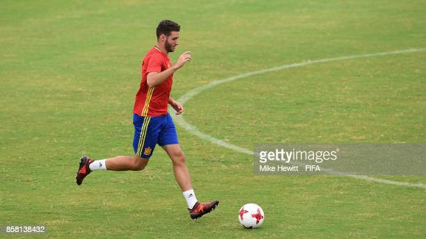 Spain's top goalscorer at U17 level Abel Ruiz in action during a Spain training session at the Panampilly Nagar Sports Academy ahead of the FIFA U17...