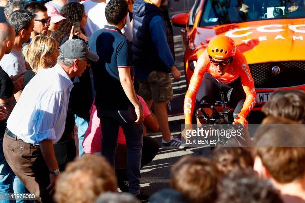 Spain's Victor de la Parte rides in the ascent of San Luca during the first stage of the 2019 Giro d'Italia the cycling Tour of Italy an 8kilometer...