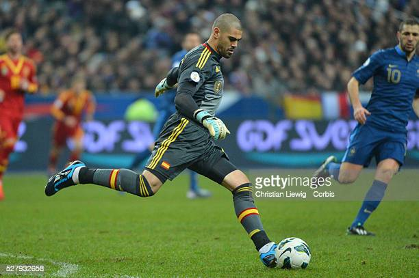 Spain,s Victor Valdes during the FIFA 2014 World Cup qualifying round group I soccer match, France Vs Spain at Stade de France in Saint-Denis suburb...