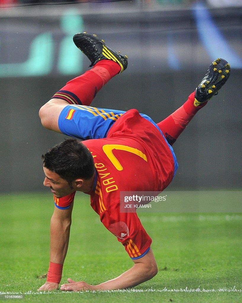 Spains's David Villa falls down during a friendly match between Spain and Saudi Arabia in Tyrolian Innsbruck on 29 May, 2010.