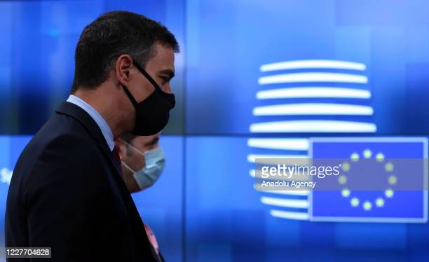 Spains's Prime Minister Pedro Sanchez attends the fourth day of an EU summit in Brussels Belgium on July 20 as the leaders of the EU member states...