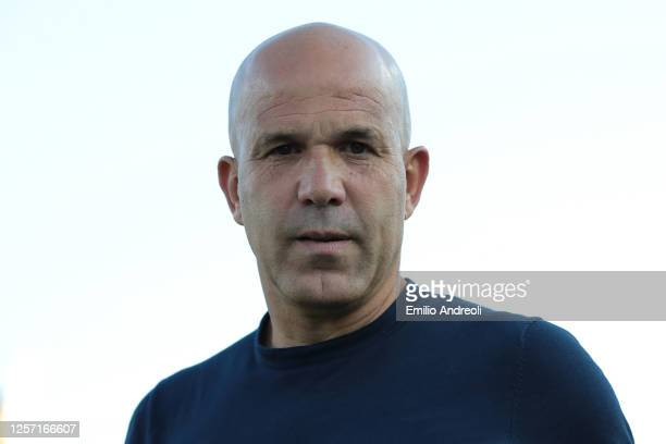 Spal coach Luigi Di Biagio looks on during the Serie A match between Brescia Calcio and SPAL at Stadio Mario Rigamonti on July 19, 2020 in Brescia,...