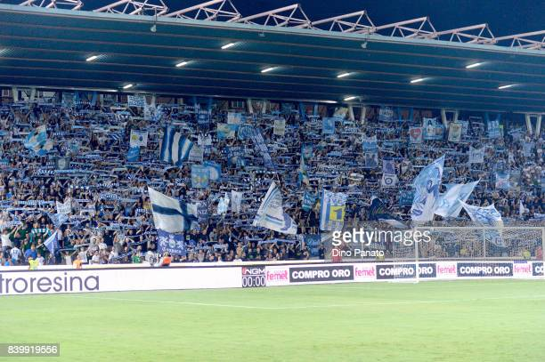 Spal fans shows their support during the Serie A match between Spal and Udinese Calcio at Stadio Paolo Mazza on August 27, 2017 in Ferrara, Italy.