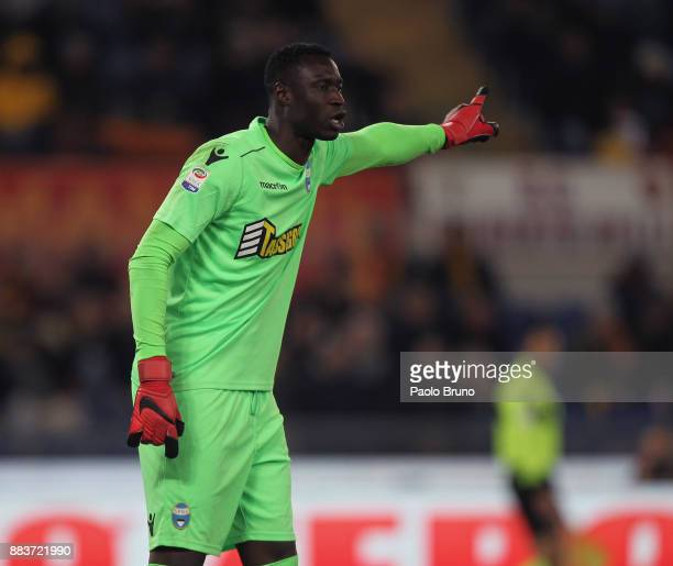 Spal goalkeeper Alfred Gomis gestures during the Serie A match between AS Roma and Spal at Stadio Olimpico on December 1 2017 in Rome Italy
