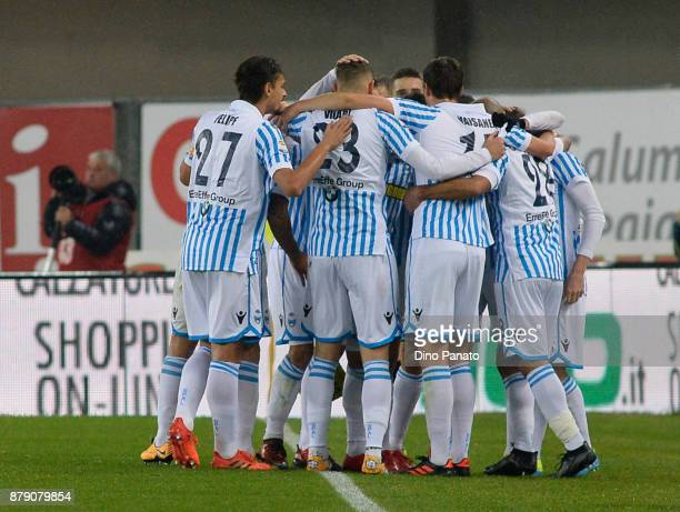 Spal players celebrate after Cesar of Chievo Verona own goal during the Serie A match between AC Chievo Verona and Spal at Stadio Marc'Antonio...