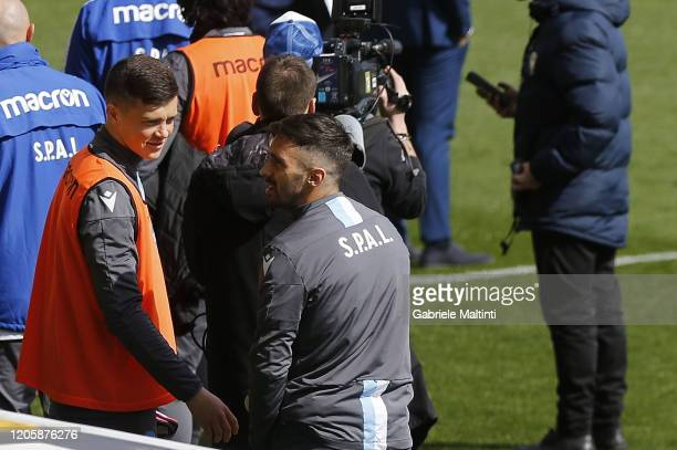 Spal players return to the locker room the game has been postponed for 30 minutes during the Serie A match between Parma Calcio and SPAL at Stadio...
