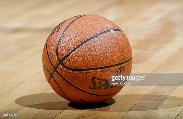 Spalding ball sits on the court during the game between the Atlanta Hawks and the Houston Rockets at Philips Arena on November 20 2009 in Atlanta...