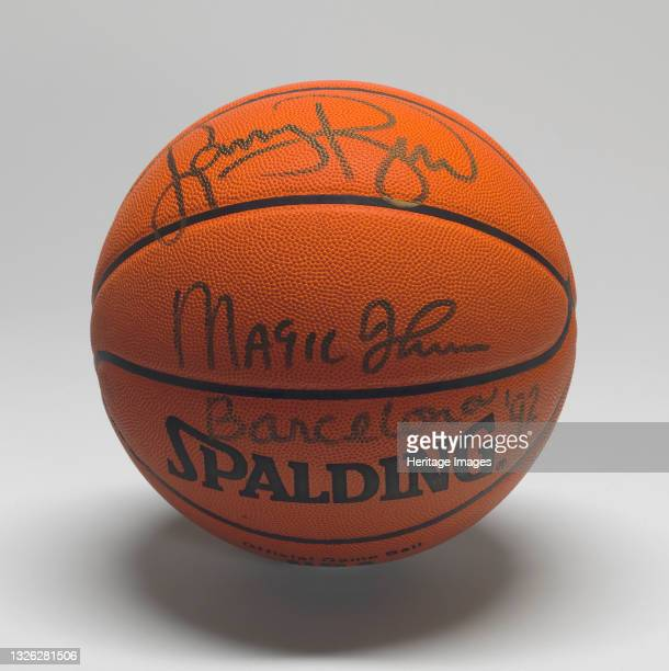 Spalding basketball signed by Larry Bird and Earvin 'Magic' Johnson, co-captains of the U.S. 'Dream Team' that won the gold medal at the 1992...