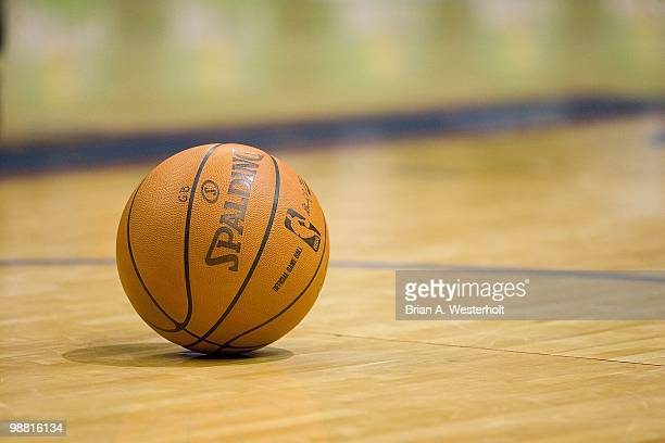 Spalding basketball sits on the court during a stoppage in play between the Orlando Magic and the Charlotte Bobcats at Time Warner Cable Arena on...