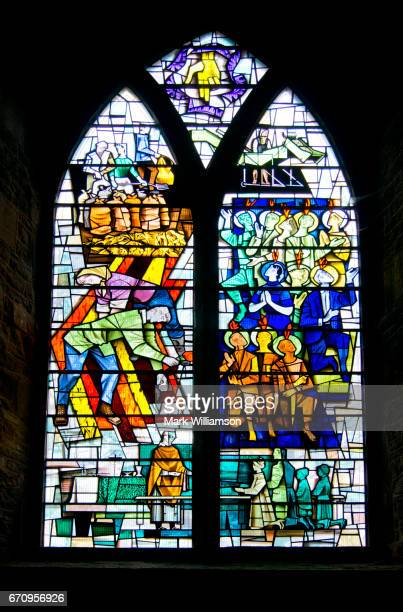 spalding parish church window. - spalding england stock photos and pictures