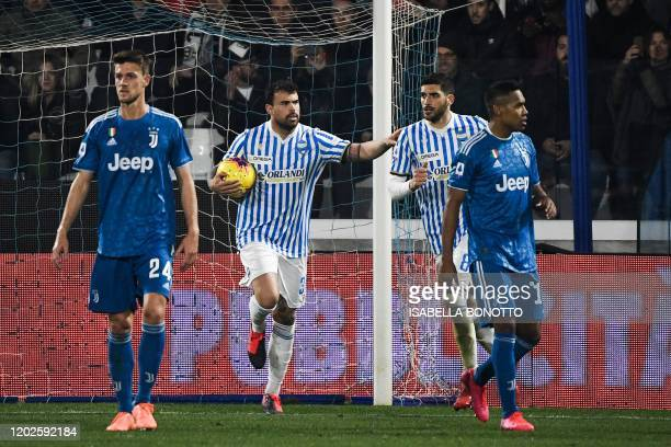 Spal's Italian forward Andrea Petagna celebrates after scoring a penalty during the Italian Serie A football match SPAL vs Juventus on February 22,...