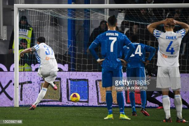 Spal's Italian forward Andrea Petagna shoots to score a penalty during the Italian Serie A football match SPAL vs Juventus on February 22, 2020 at...