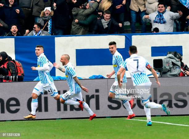 Spal's players celebrate after scoring during the Italian Serie A football match Spal vs Inter Milan at the Paolo Mazza stadium in Ferrara on January...