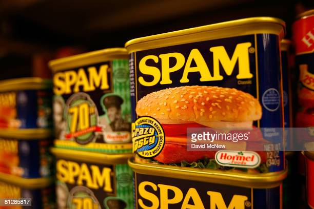 Spam the oftenmaligned classic canned lunch meat made by Hormel Foods is seen on a grocery store shelf May 29 2008 in Sierra Madre California With...