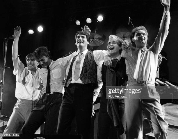 Spandau Ballet, group shot on stage at Veronica's Rocknight, Ahoy, Rotterdam, Netherlands, 30th September 1983. L-R John Keeble, Martin Kemp, Tony...