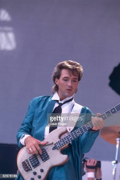 Spandau Ballet guitarist Martin Kemp performing during the Live Aid concert at Wembley Stadium in London 13th July 1985