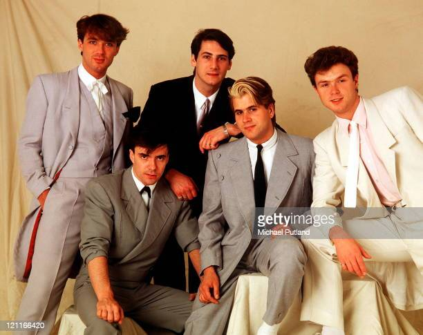 Spandau Ballet, studio group portrait, London, May 1983, L-R Martin Kemp, John Keeble, Tony Hadley, Steve Norman, Gary Kemp.
