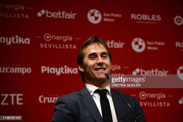 Spaniard Julen Lopetegui speaks during his presentation as new head coach of Sevilla FC at the Ramon Sanchez Pizjuan stadium in Seville on June 5,...