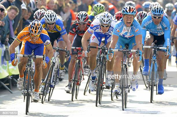 Spaniard Oscar Freire of Rabobank, Belgian Wouter Weylandt of Quickstep Innergetic and Second placed Aurelien Clerc of Bouygues Telecom power on to...