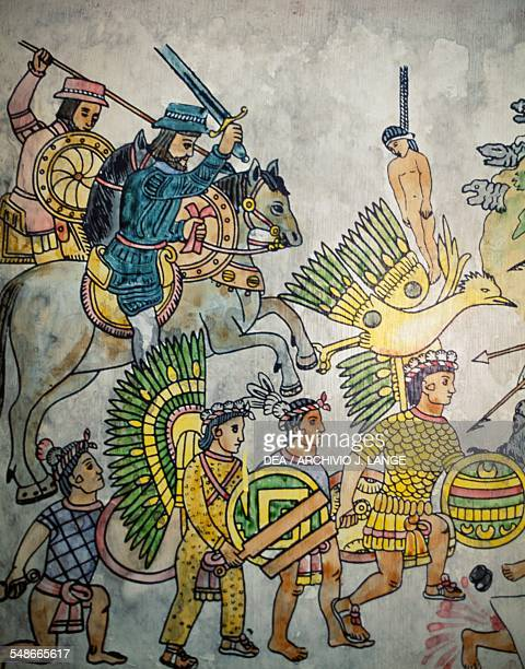 Spaniards accompanied in battle by Tlaxcala Indians painting San Cristobal de Las Casas Chiapas Mexico San Cristobal de Las Casas Asociacion Cultural...