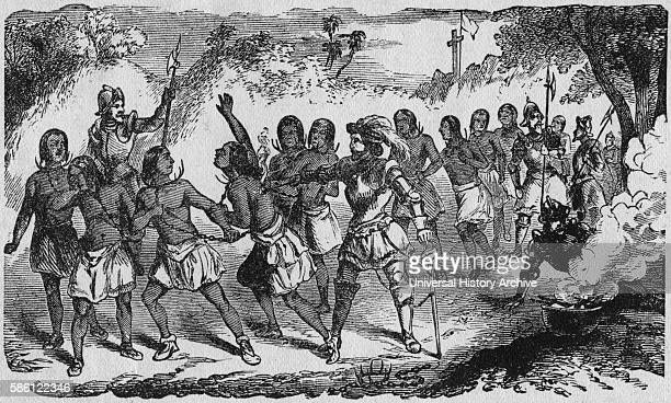 ÒSpaniards Enslaving the IndiansÓ Book Illustration from ÒIndian Horrors or Massacres of the Red MenÓ by Henry Davenport Northrop 1891